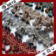 Stock Polyester Curtain Trims Tassel Fringes for curtain decoration